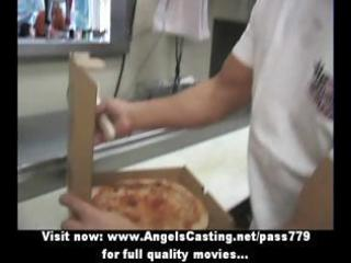 hot blond milf does fellatio for pizza chap and