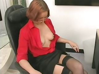 Office skank gets undressed and proceeds to