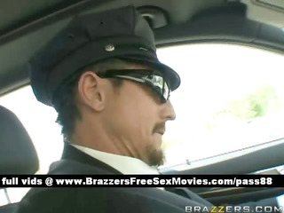 hot breasty dark brown chick is driven by her