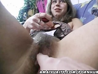 hairy non-professional wife toys and rides a dick