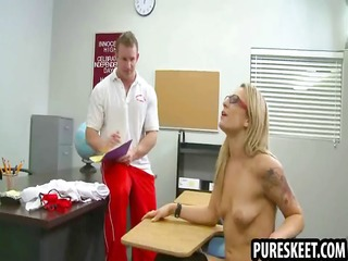 blond schoolgirl in glasses sucks a hard shlong