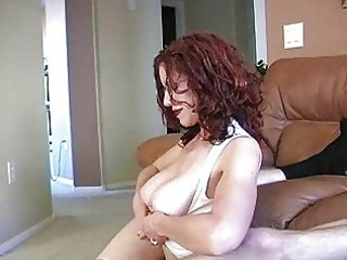 teasing redhead mother i with glasses and huge