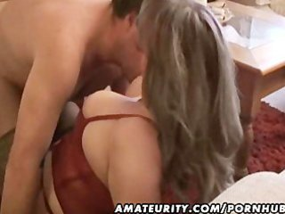 fat and breasty non-professional wife sucks and