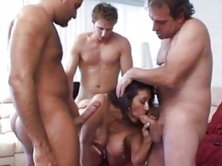 darksome haired milf with large boobies sucks