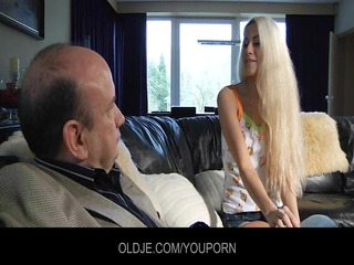 young curious blond relishes the old french penis