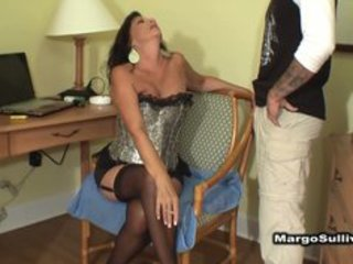 Mature busty cougar smoking blowjob with son