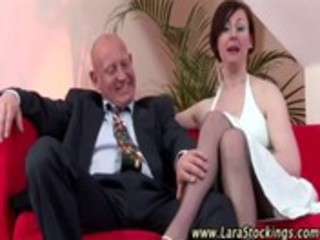 older lady in nylons receives sexy