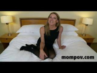 Mature blonde housewife gives him a blowjob,