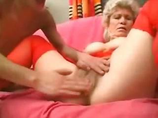 granny in red nylons strapons the lad