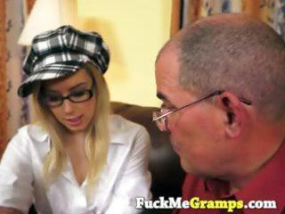 lustful older man seduces blonde cutie
