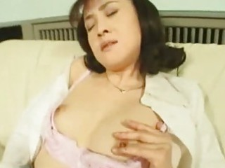 lascivious oriental wife masturbating in stockings