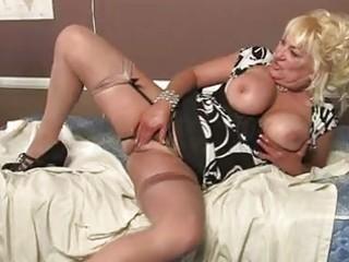blonde momma with massive boobs in hot underware