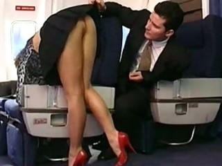 milf screwed on an airplane by young man