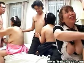 Oriental matures blowing and fucking young dudes