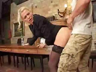 Mature mom in stockings sucks cock and gets