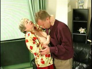 Chubby blonde granny uses her massive saggy tits