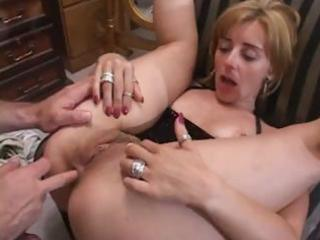 naughty older blonde gets fingered and drilled in