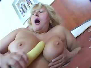 chunky blonde aged masturbation on daybed