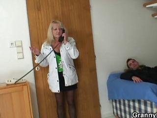 nasty granny in stockings rides cock