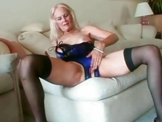 hawt blond granny toys her love tunnel before