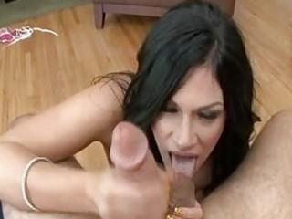 skinny balls licking brunette hair milf with
