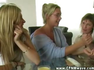 lascivious cfnm milfs tugging penis and can get