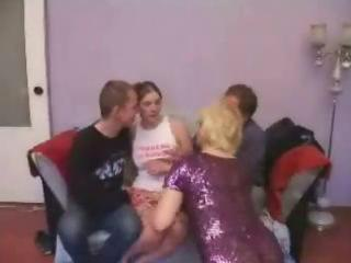 aged broad gets fortunate in group bang
