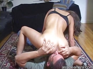 mean female-dom sits on ass cleaners face for ass