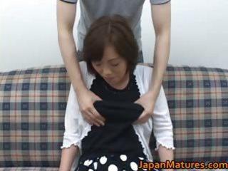 aged nihonjin woman getting