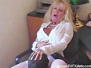 sexy granny cougar in stockings copulates a young
