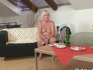 drunk fuckfest with slutty granny and her son in