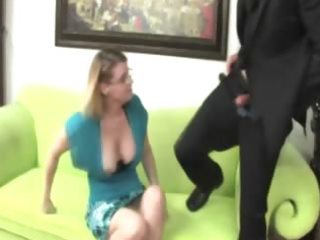 breasty mature with glasses waxes her boytoys
