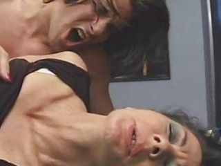older unshaved 1 mature women drilled on table