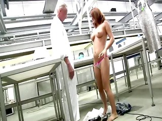 youthful wazoo redhead receives s garb in front