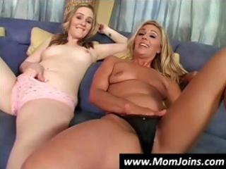 hawt blond mom and her cute daughter share this