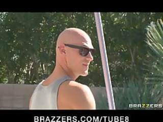 brunette hair milf in bikini fucks pool boy