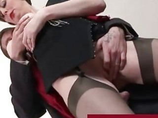 Classy mature lady in stockings fucking