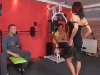 german older double penetrated at the gym