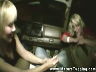 blonde older stroking off young mmf in car