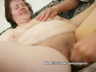 younger guy dildos old womans ass and bonks her