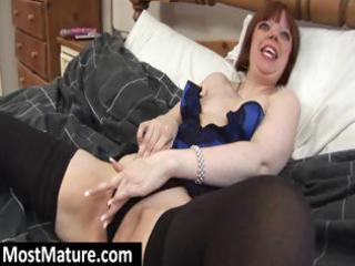 plumper aged redhead in underware positions and