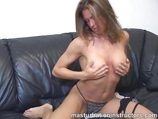 topless jerk off teacher caresses and spreads