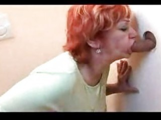 redhead aged gangbanged throughout gloryhole