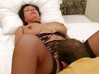 large breasted brunette hair wife in lingerie got