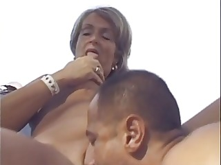 golden-haired old lady screwed outdoors