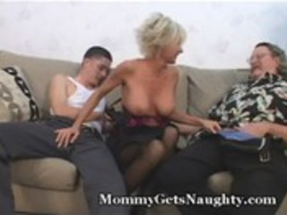 aged mommy seduces young chap with hubby
