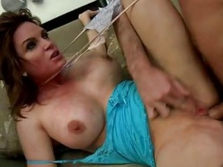 Brunette milf with massive hooters gets hard