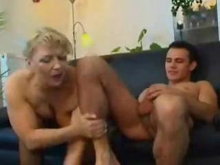 chubby aged russian blond eats his shlong and