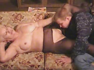 old blonde granny in hose sucks and copulates the