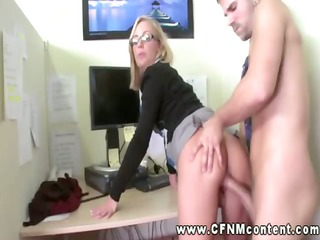 office skanks demand hard fucking from two male